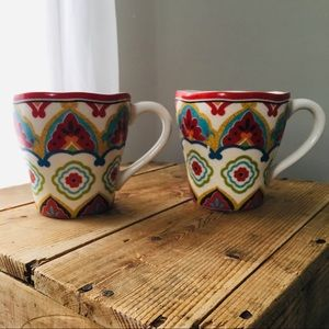 2/$20 Pair of Large Mosaic Design Pier 1 Mugs!
